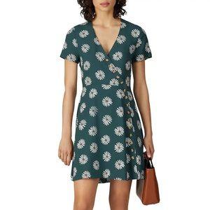 Madewell Green Button Wrap Mini Dress Daisy Print